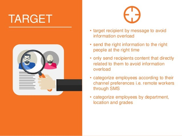 TARGET • target recipient by message to avoid information overload • send the right information to the right people at the...
