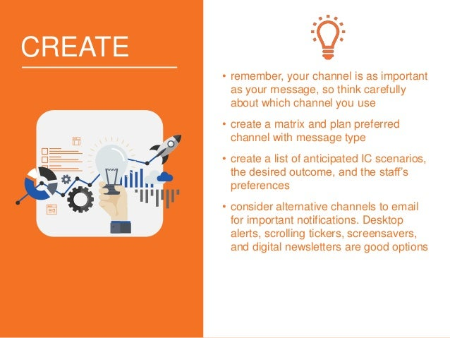 CREATE • remember, your channel is as important as your message, so think carefully about which channel you use • create a...