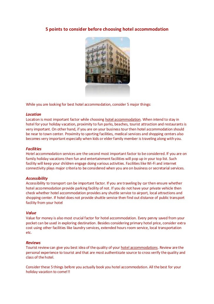 5 points to consider before choosing hotel accommodation