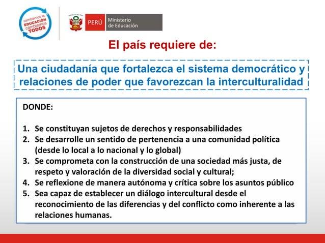 El país requiere de: Una ciudadanía que fortalezca el sistema democrático y relaciones de poder que favorezcan la intercul...