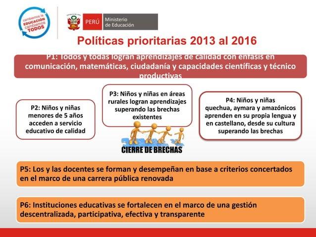 Políticas prioritarias 2013 al 2016 P1: Todos y todas logran aprendizajes de calidad con énfasis en comunicación, matemáti...