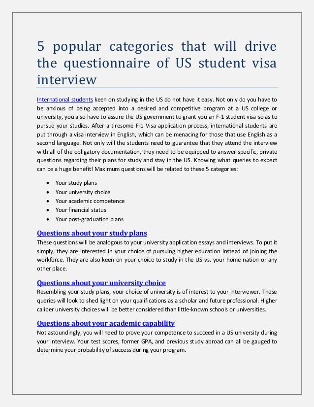 5 popular categories that will drive the questionnaire of US student visa interview International students keen on studyin...