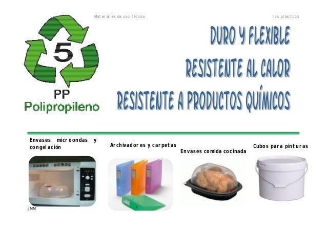Materiales de uso técnico los plásticos jMM Envases microondas y congelación Archivadores y carpetas Envases comida cocina...