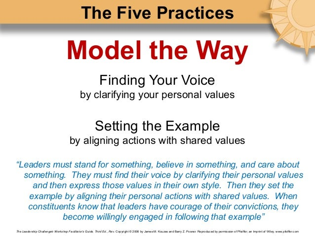 the five practices of exemplary leadership essay The five practices of exemplary leadership 1527 words | 7 pages model the way the five practices of exemplary leadership are important to all good leaders and good practices to instill in themselves and others.