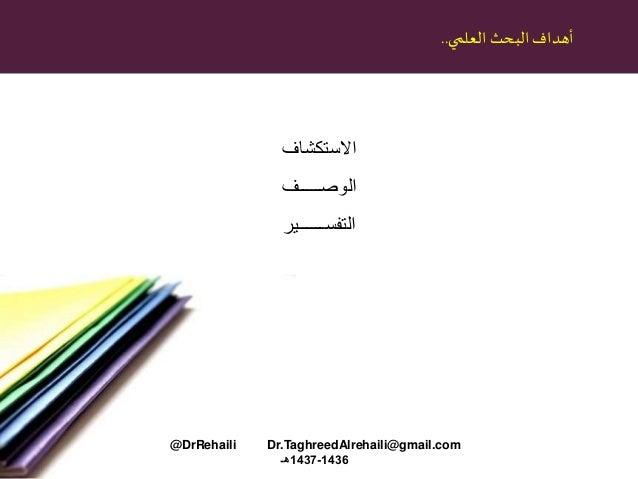 البحث أهدافالعلمي.. االستكشاف الوصـــــف التفســــــير @DrRehaili Dr.TaghreedAlrehaili@gmail.com 1436-1437هـ