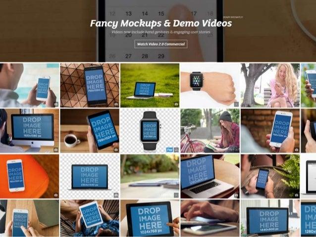 Fancy Mockups & Demo Videos   Vldms nnwmrludn hand gmlirrcs A i : '.; ]a_vJ. u't; ; It (7 slon-: 's  Much Video 20 commerc...