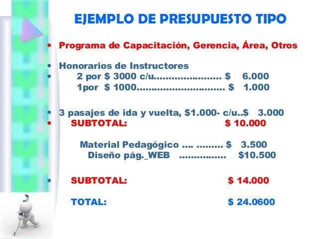 Presupuesto de capacitaci n for Programa para hacer presupuestos