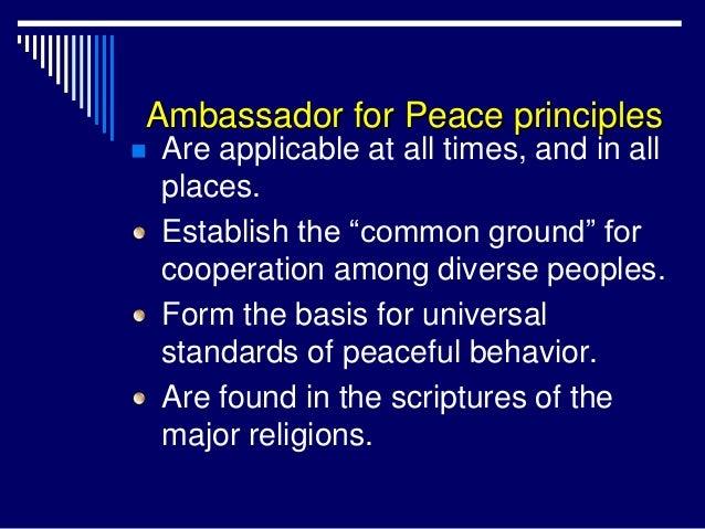 Ambassador for Peace Principles Slide 3