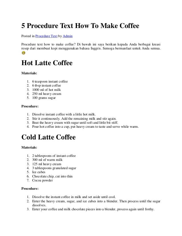 5 procedure text how to make coffee How to make coffee with a coffee maker