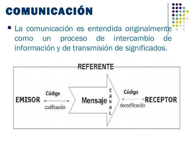 COMUNICACIÓN La comunicación es entendida originalmente como un proceso de intercambio de información y de transmisión de...