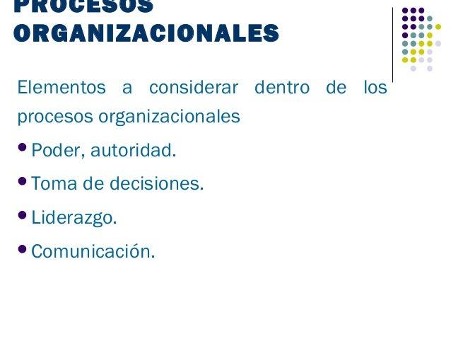 PROCESOSORGANIZACIONALESElementos a considerar dentro de losprocesos organizacionalesPoder,   autoridad.Toma   de decisi...