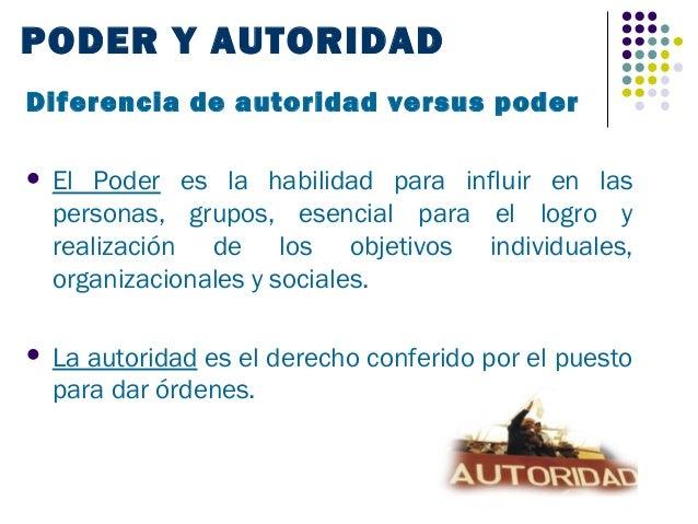 PODER Y AUTORIDADDiferencia de autoridad versus poder   El Poder es la habilidad para influir en las    personas, grupos,...
