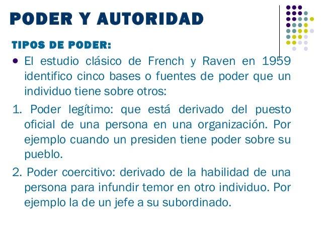 PODER Y AUTORIDADTIPOS DE PODER: El estudio clásico de French y Raven en 1959  identifico cinco bases o fuentes de poder ...