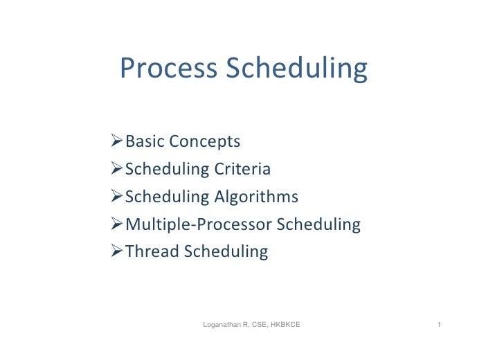 Process SchedulingBasic ConceptsScheduling CriteriaScheduling AlgorithmsMultiple-Processor SchedulingThread Schedulin...