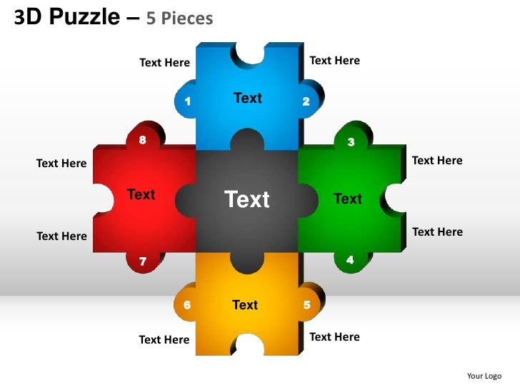 Five Piece Puzzle Template Maggilocustdesignco - Jigsaw graphic for powerpoint