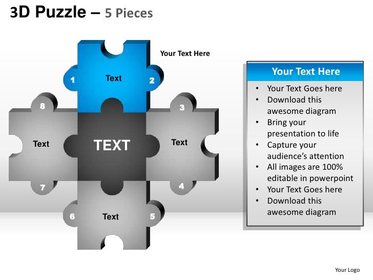 5 Puzzle Pieces Powerpoint Presentation Templates