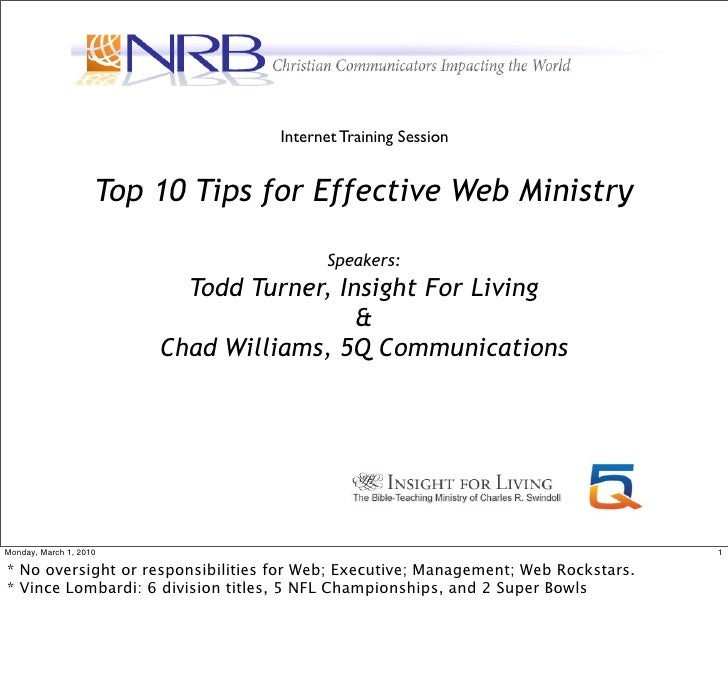 Internet Training Session                       Top 10 Tips for Effective Web Ministry                                    ...