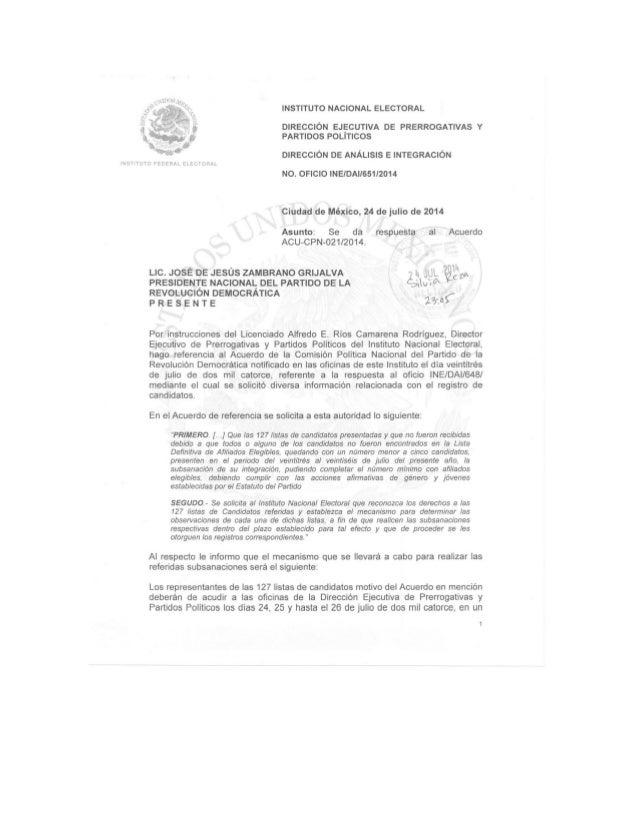 Respuesta del INE al acuerdo de Comisión Política Nacional identificado con el alfanumérico ACU-CPN-021/2014
