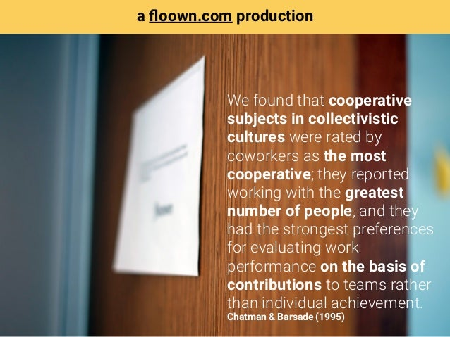 We found that cooperative subjects in collectivistic cultures were rated by coworkers as the most cooperative; they report...