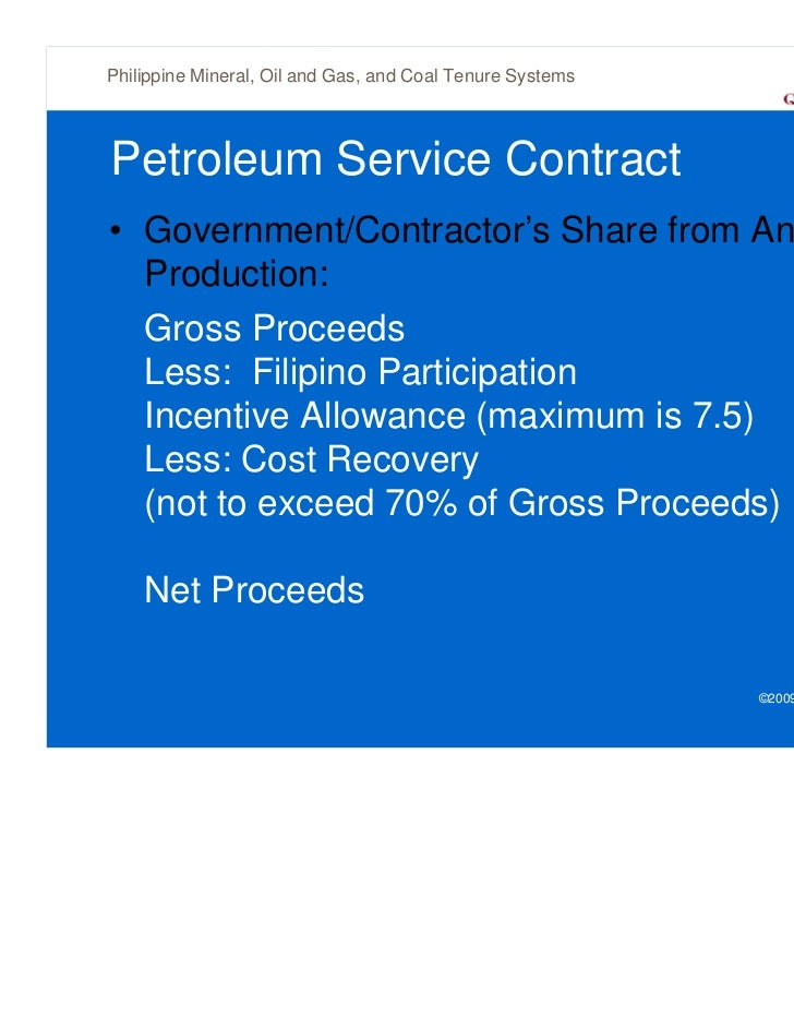 Philippine mineral oil and gas and coal tenure systems for Allowances in construction contracts