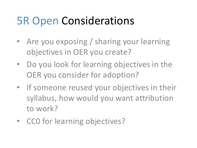 3. Alignment Avoiding simple mistakes that might be easy to make with OER