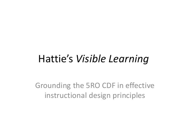 Hattie's Visible Learning Grounding the 5RO CDF in effective instructional design principles