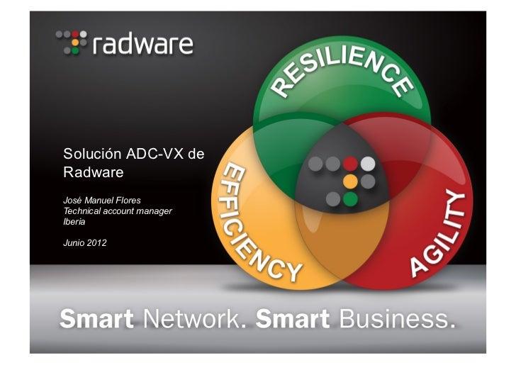 Solución ADC-VX deRadwareJosé Manuel FloresTechnical account managerIberiaJunio 2012