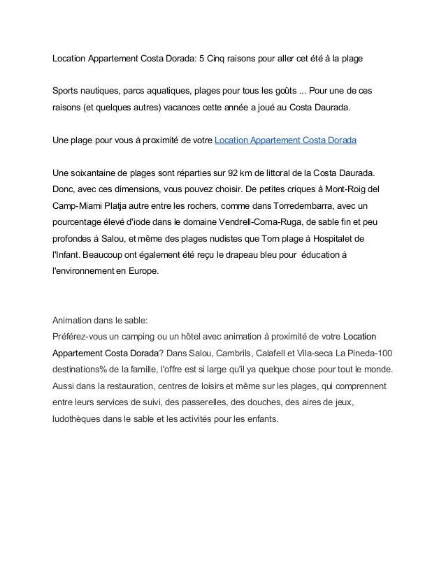 LocationAppartementCostaDorada:5Cinqraisonspourallercetétéàlaplage  Sportsnautiques,parcsaquatiques,pl...