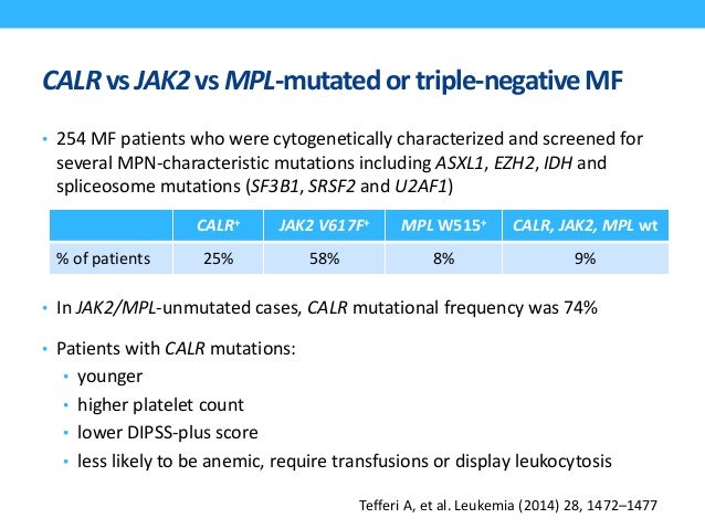 CALR-mutated patients (vs. JAK2) Essential Thrombocythemia • younger age • male sex • higher platelet count, • lower hemog...