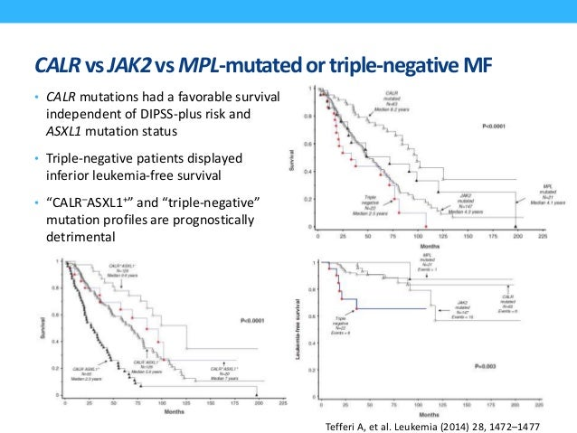 Frequencyof JAK2, CALR, andMPLmutationsin MPNs 96% 3% 55% 65% 4% 8% 15-24% 25-35% Nanglia J and Green R, Hematology 2014; ...