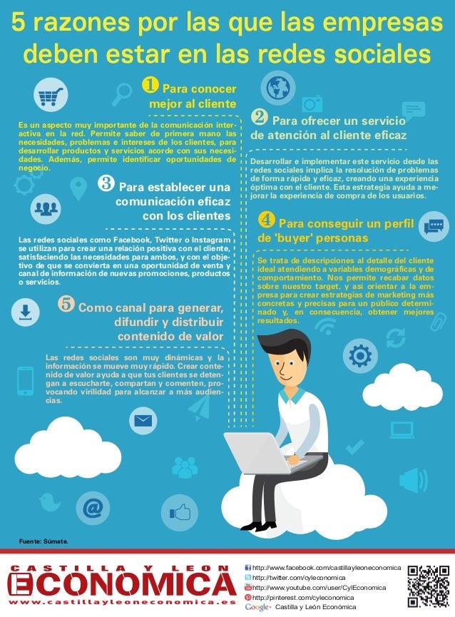 5 razones por las que las empresas deben estar en las redes sociales Para conocer mejor al cliente Para ofrecer un servi...