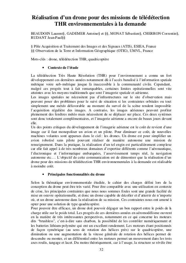 Réalisation d'un drone pour des missions de télédétection  THR environnementales à la demande  BEAUDOIN Laurent§, GADEMER ...