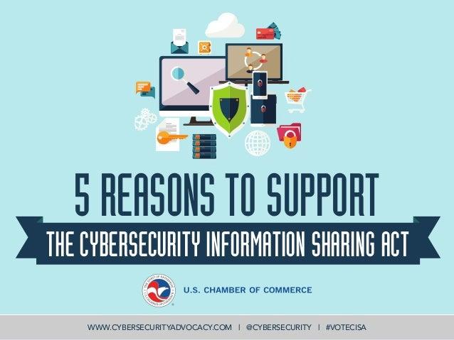 5REASONSTOSUPPORT THECYBERSECURITYINFORMATIONSHARINGACT WWW.CYBERSECURITYADVOCACY.COM | @CYBERSECURITY | #VOTECISA
