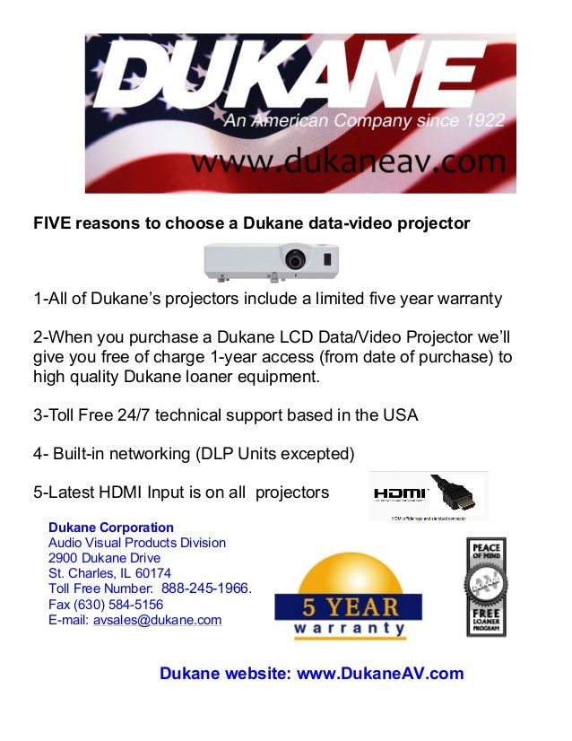 FIVE reasons to choose a Dukane data-video projector 	   	   	   	   	   	   	   	   	   	   	   	   	   	   	   	   	   	...