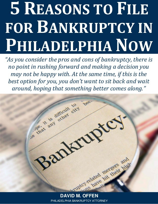 """""""As you consider the pros and cons of bankruptcy, there is no point in rushing forward and making a decision you may not b..."""