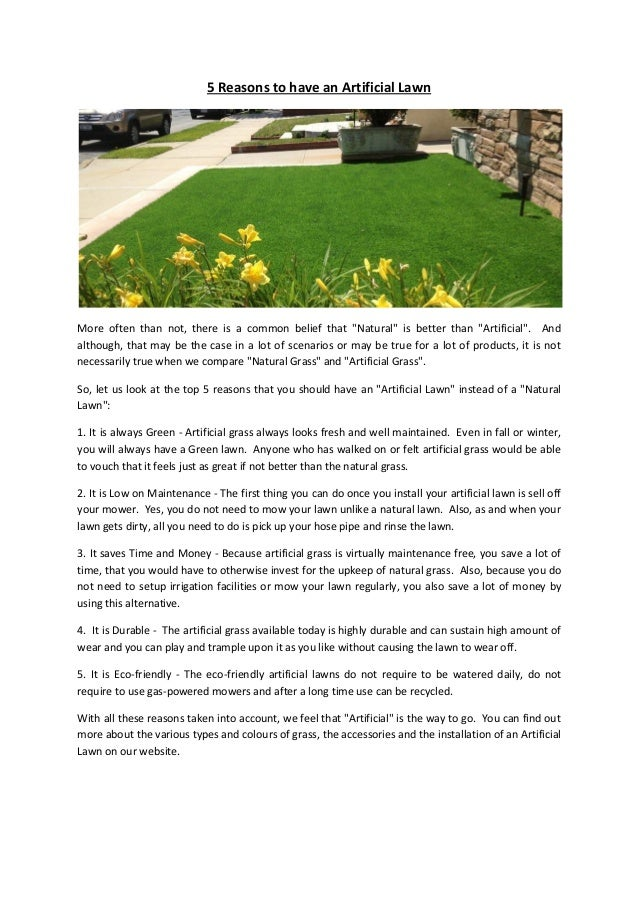 """5 Reasons to have an Artificial Lawn More often than not, there is a common belief that """"Natural"""" is better than """"Artifici..."""