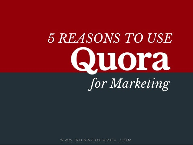 5 REASONS TO USE W W W . A N N A Z U B A R E V . C O M for Marketing