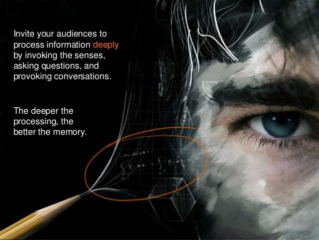 Invite your audiences to process information deeply by invoking the senses, asking questions, and provoking conversations....