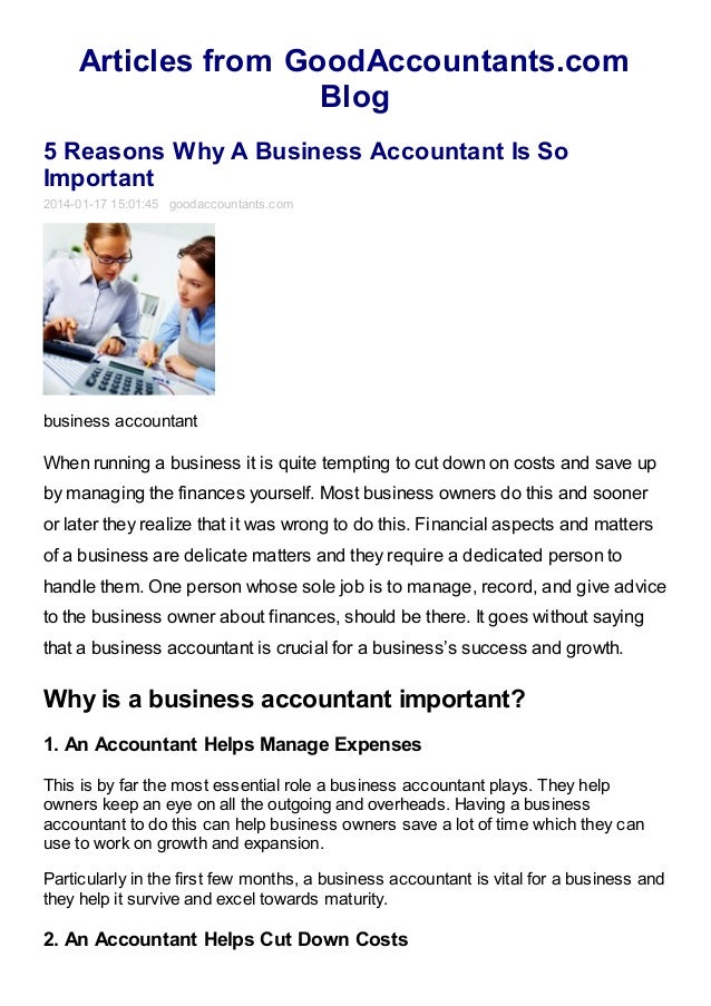 5 Reasons why a Business Accountant is so Important