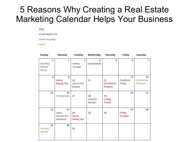 5 reasons why creating a real estate marketing calendar helps your bu