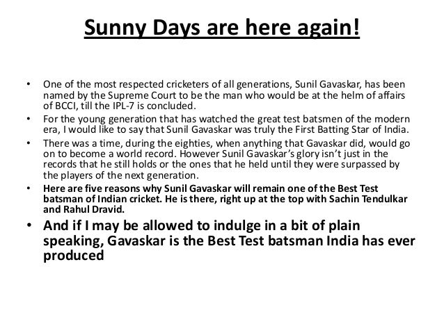 sunny days by sunil gavaskar pdf