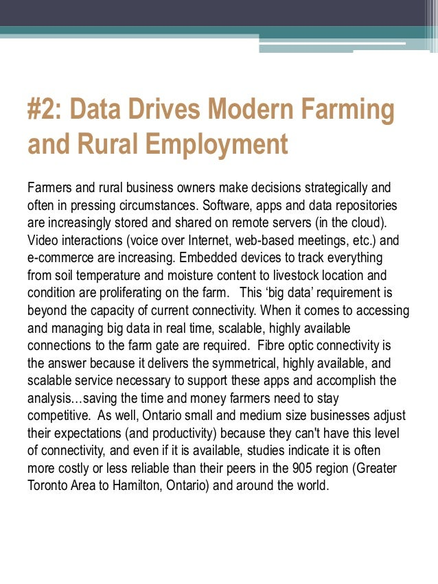 #2: Data Drives Modern Farming and Rural Employment  Farmers and rural business owners make decisions strategically and of...