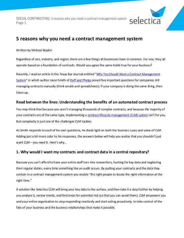 Contract Management System : Reasons why you need a contract management system from