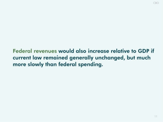 Federal revenues would also increase relative to GDP if current law remained generally unchanged,  but much more slowly th...