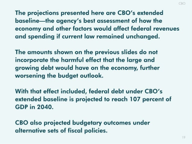 The proiections presented here are CBO's extended baseline—the agency's best assessment of how the economy and other facto...
