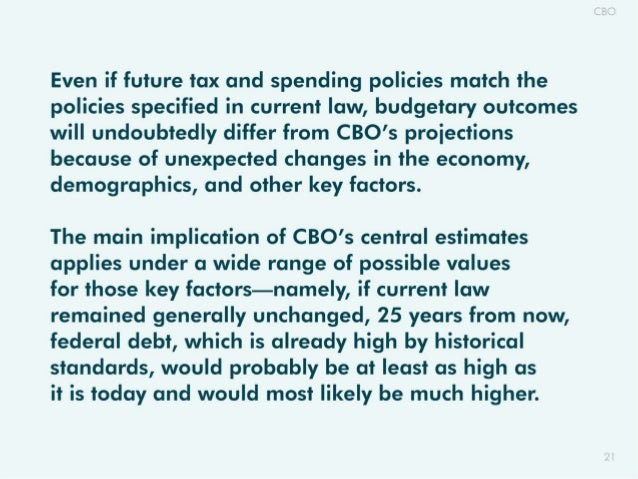 Even if future tax and spending policies match the policies specified in current law,  budgetary outcomes will undoubtedly...