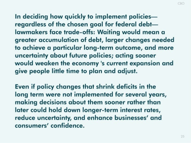 ln deciding how quickly to implement policies- regardless of the chosen goal for federal debt- lawmakers face trade-offs: ...