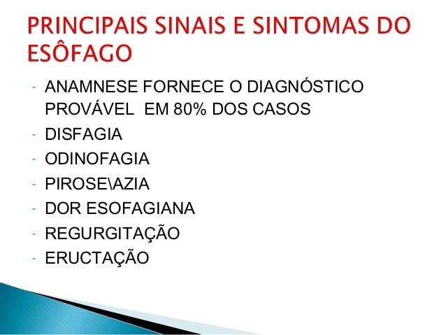 - ANAMNESE FORNECE O DIAGNÓSTICO PROVÁVEL EM 80% DOS CASOS - DISFAGIA - ODINOFAGIA - PIROSEAZIA - DOR ESOFAGIANA - REGURGI...