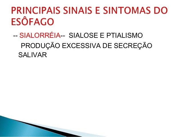 -- SIALORRÉIA-- SIALOSE E PTIALISMO PRODUÇÃO EXCESSIVA DE SECREÇÃO SALIVAR