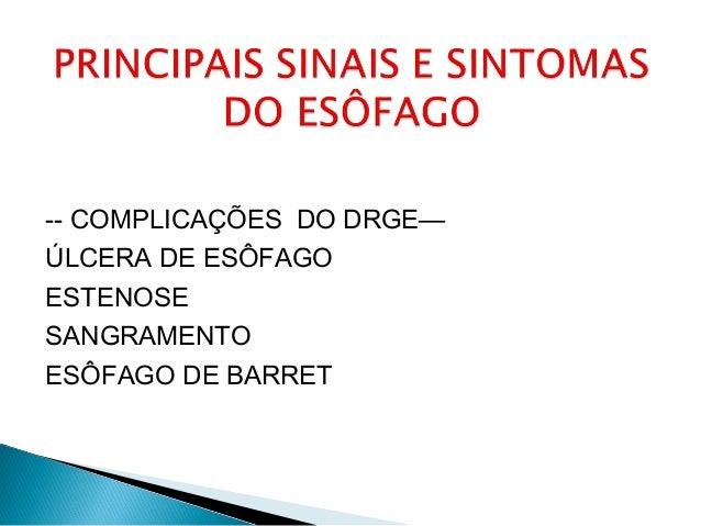 -- COMPLICAÇÕES DO DRGE— ÚLCERA DE ESÔFAGO ESTENOSE SANGRAMENTO ESÔFAGO DE BARRET